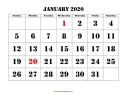 Printable January 2020 Calendar, large font design , holidays on red (horizontal)