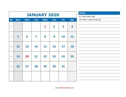 printable january calendar 2020 large space appointment notes