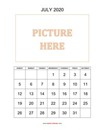 printable july 2020 calendar, pictures can be placed at the top