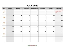 printable july 2020 calendar large box grid, space for notes