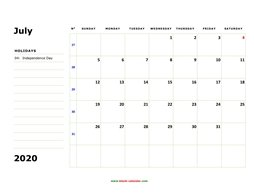 printable july 2020 calendar, large box, space for notes