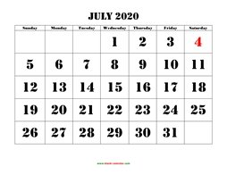 printable july 2020 calendar larger font