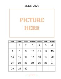 Printable June 2020 Calendar, pictures can be placed at the top (vertical)