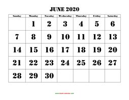 Calendar June 2020.June 2020 Printable Calendar Free Download Monthly Calendar Templates