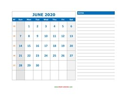 Printable June 2020 Calendar, large space for appointment and notes (horizontal)