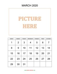 printable march calendar 2020 add picture