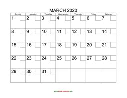 Printable March 2020 Calendar with check boxes (horizontal)