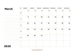 printable march calendar 2020 large box space notes