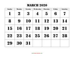 Printable March 2020 Calendar, large font design , holidays on red (horizontal)