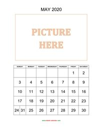 Printable May 2020 Calendar, pictures can be placed at the top (vertical)