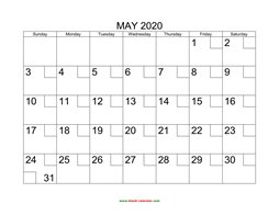 printable may calendar 2020 check boxes