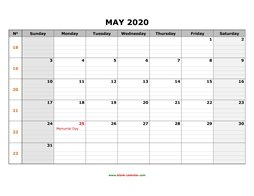 Printable May 2020 Calendar, large box grid, space for notes (horizontal)