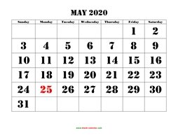 Printable May 2020 Calendar, large font design , holidays on red (horizontal)