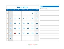 printable may calendar 2020 large space appointment notes