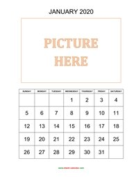 printable monthly calendar 2020, pictures can be placed at the top