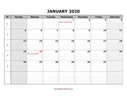 printable monthly calendar 2020 large box grid, space for notes