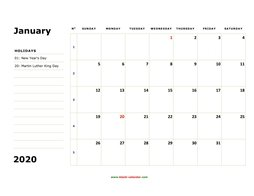 printable calendar 2020 large box space notes