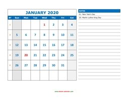 printable monthly calendar 2020