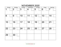 printable november calendar 2020 check boxes