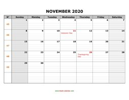 printable november calendar 2020 large box grid