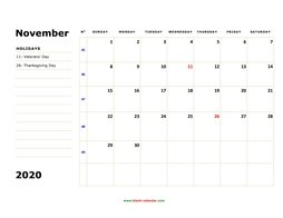 printable november 2020 calendar, large box, space for notes
