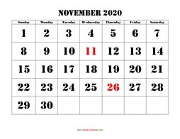 Printable November 2020 Calendar, large font design , holidays on red (horizontal)