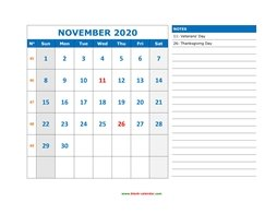 printable november calendar 2020 large space appointment notes