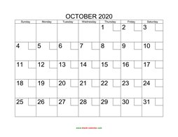 printable october calendar 2020 check boxes