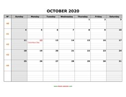 printable october calendar 2020 large box grid