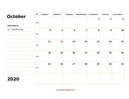 printable october calendar 2020 large box space notes