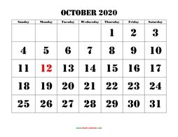 Printable October 2020 Calendar, large font design , holidays on red (horizontal)