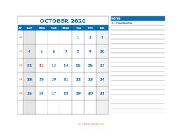 Printable October 2020 Calendar, large space for appointment and notes (horizontal)