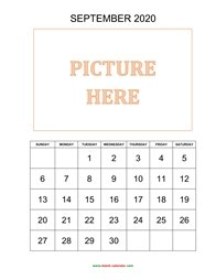 printable september 2020 calendar, pictures can be placed at the top