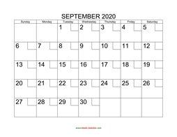 Free Download Printable September 2020 Calendar, large box