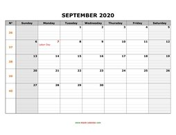 printable september 2020 calendar large box grid, space for notes