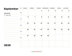 printable september 2020 calendar, large box, space for notes