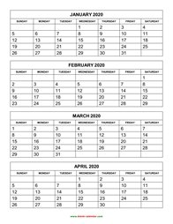 Printable Calendar 2020, 4 months per page, 3 pages (vertical)