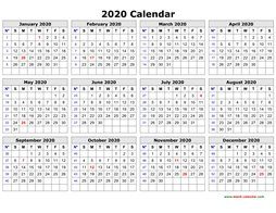 Yearly Calendar 2020 Free Printable Printable Calendar 2020 | Free Download Yearly Calendar Templates