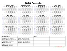 free download printable calendar 2020 large font design holidays