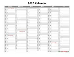 printable calendar 2020 month in a column