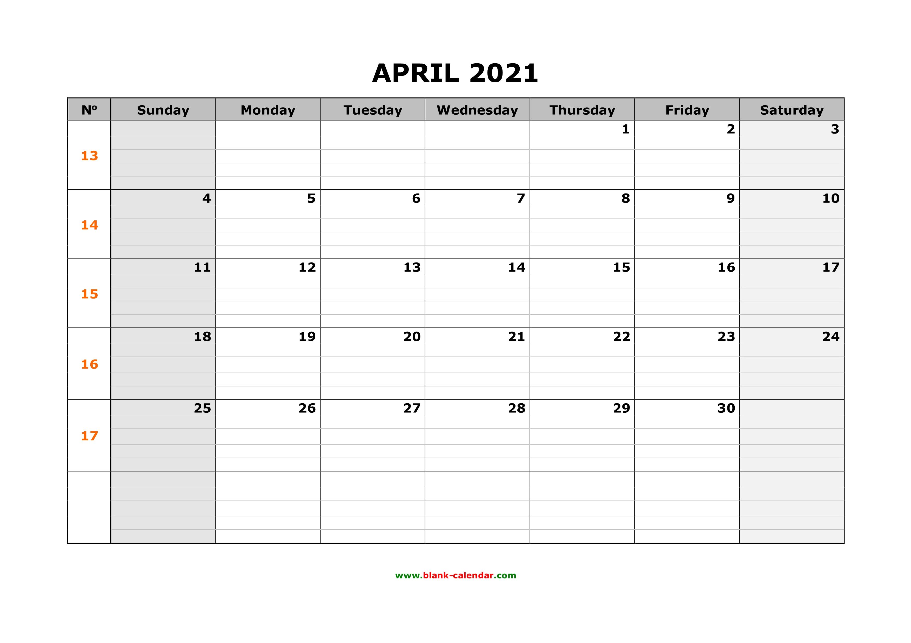 Free Download Printable April 2021 Calendar, large box ...
