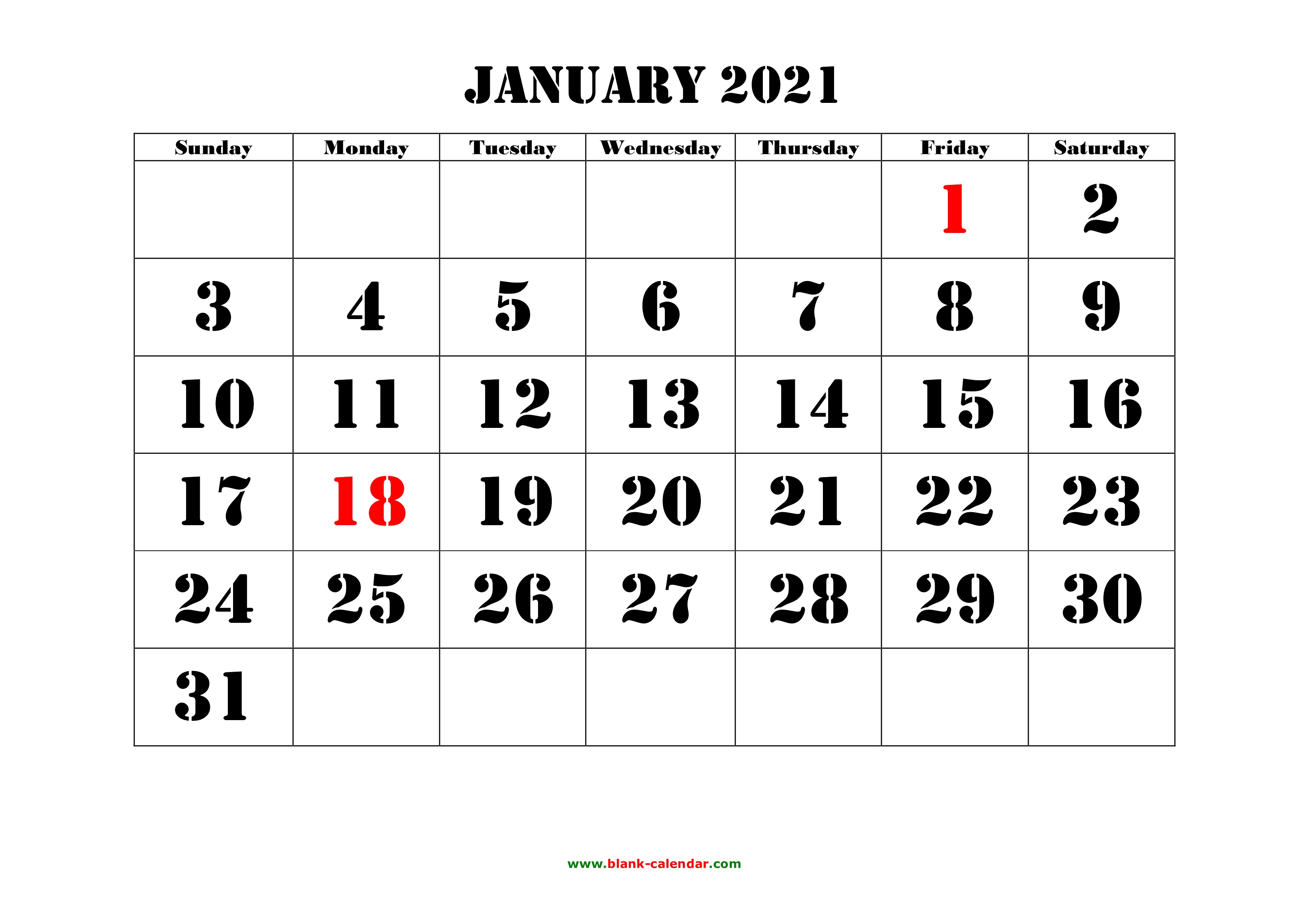 Free Download Printable January 2021 Calendar, large font ...