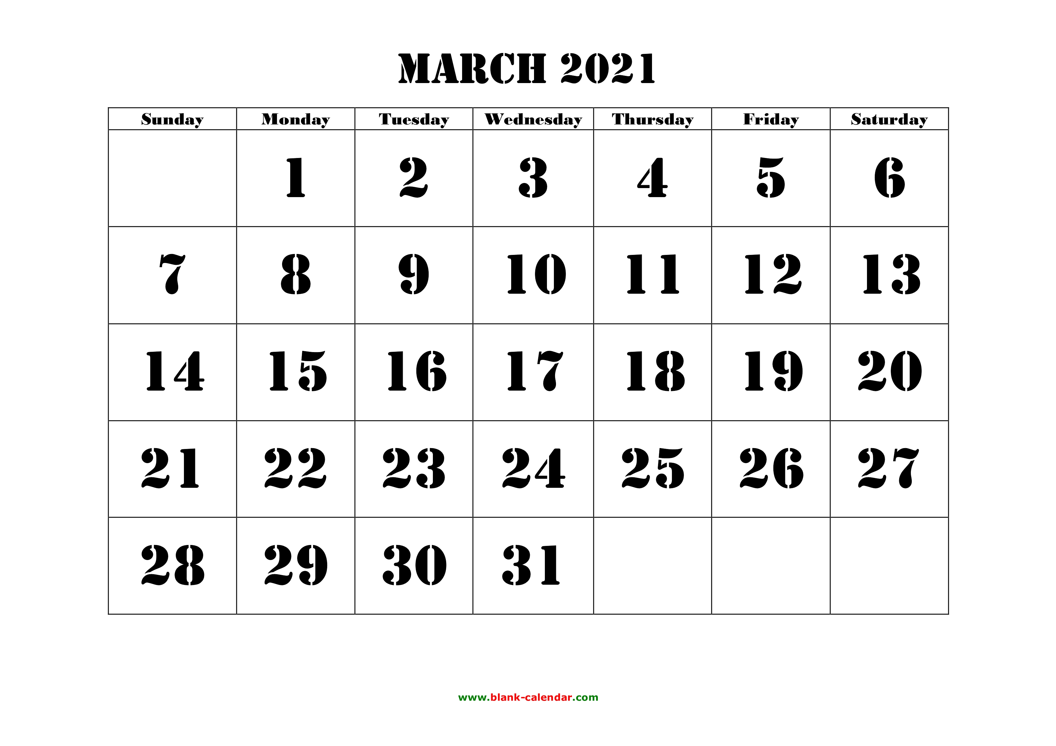 March 2021 Printable Calendar | Free Download Monthly ...