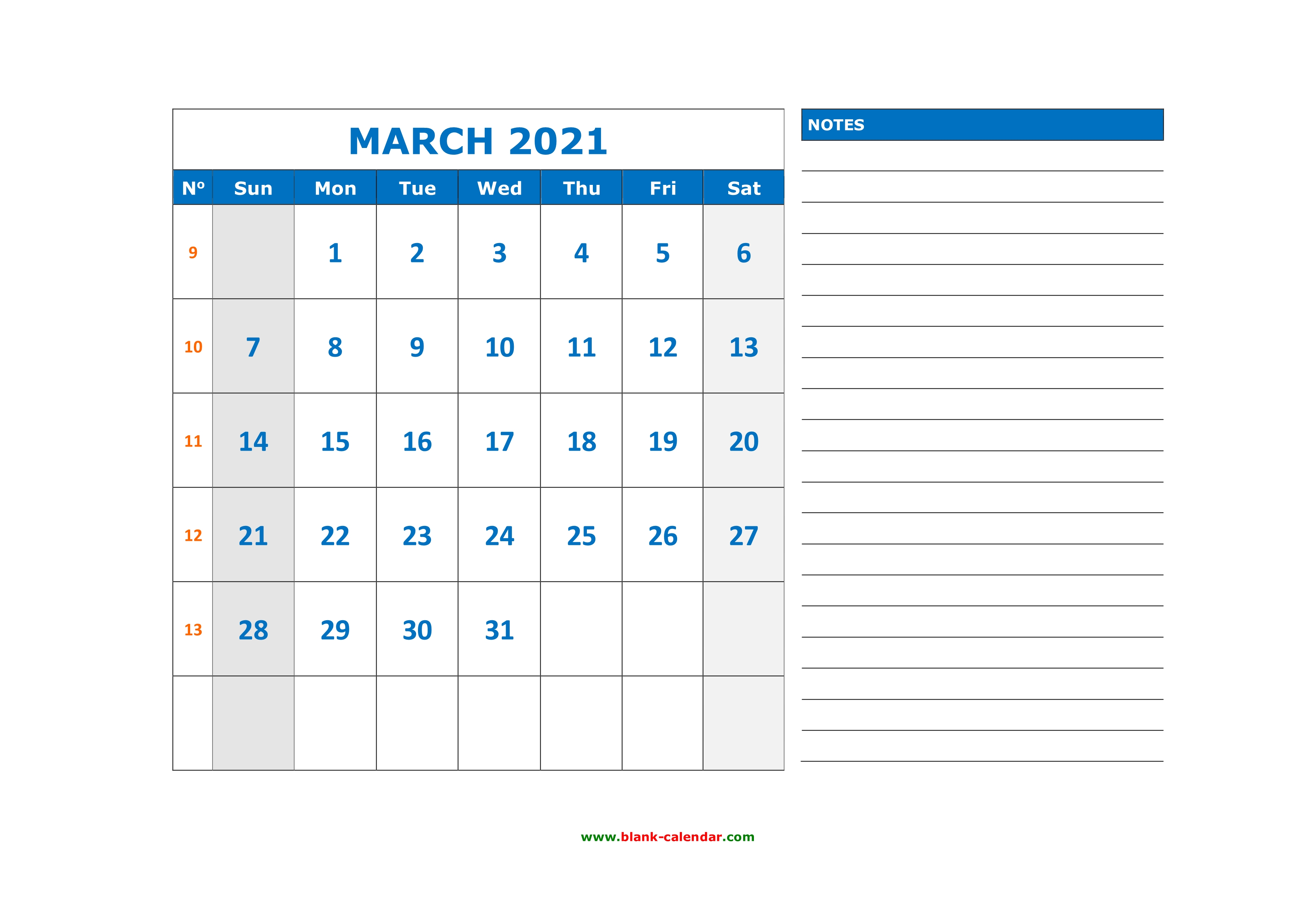 Free Download Printable March 2021 Calendar, large space ...