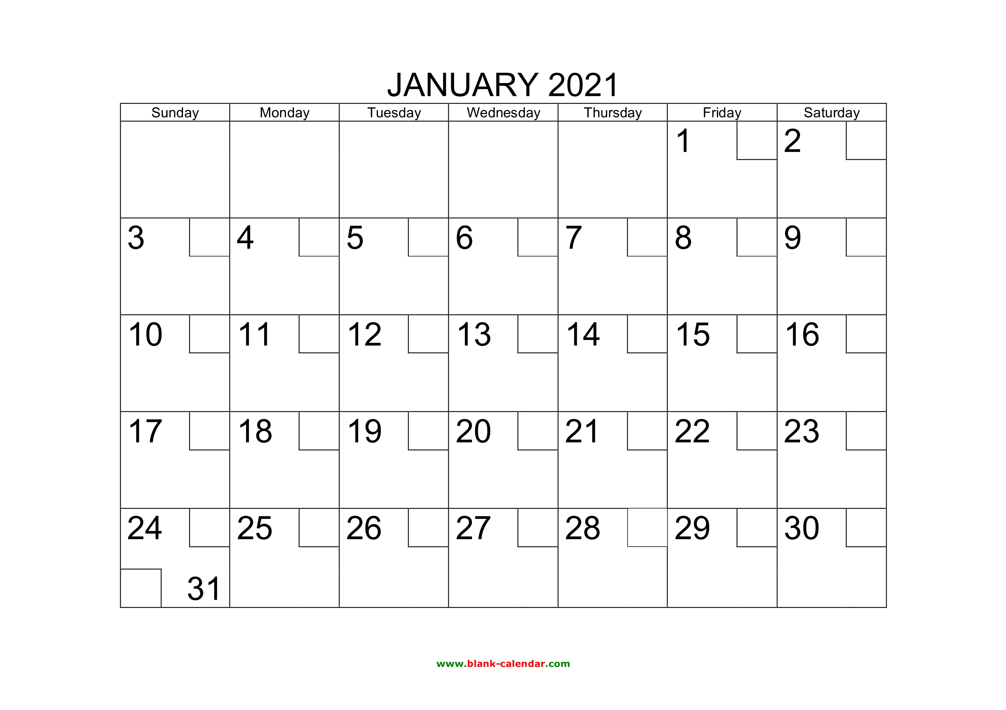 Free Download Printable Calendar 2021 with check boxes