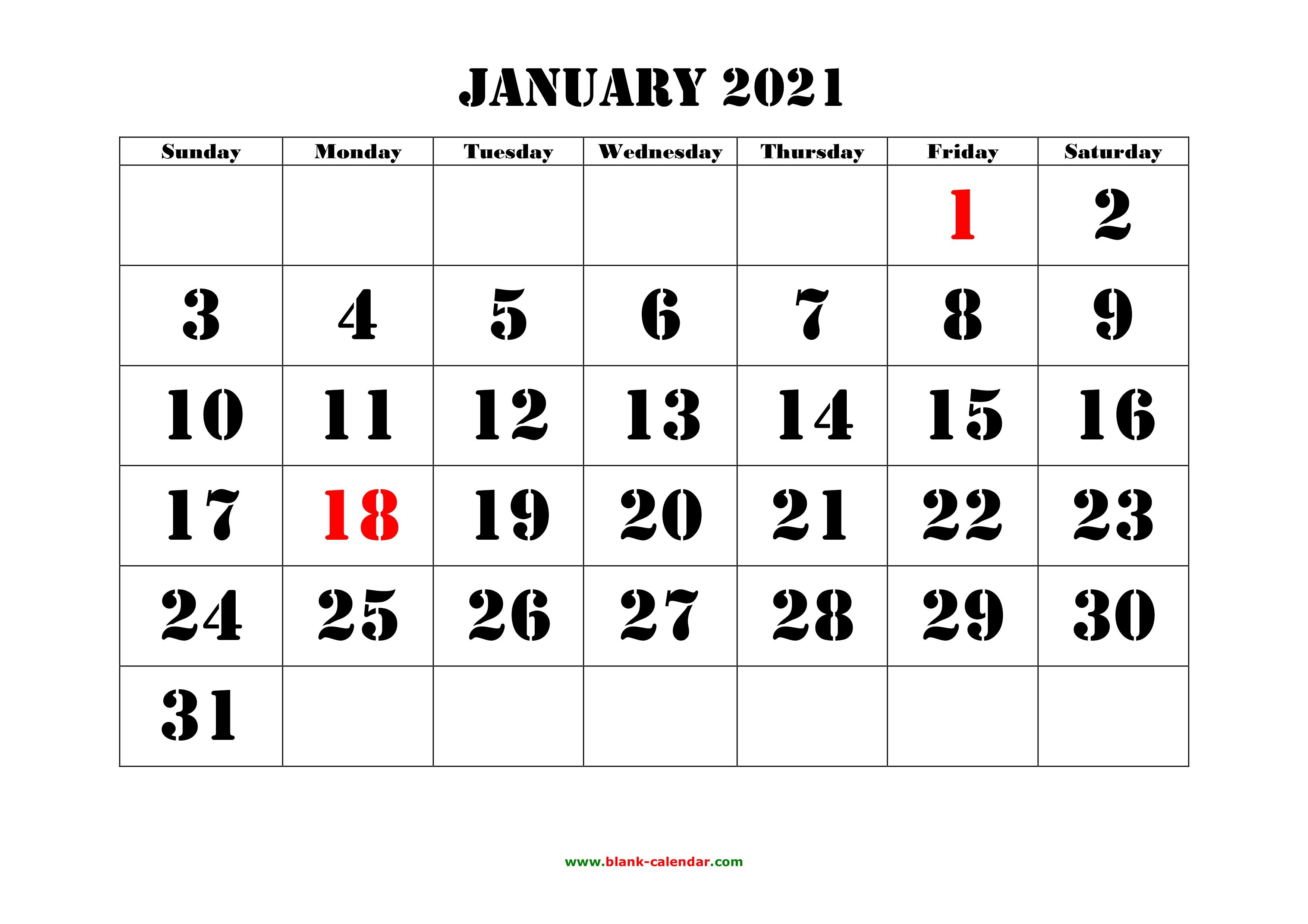 Free Download Printable Calendar 2021, large font design ...