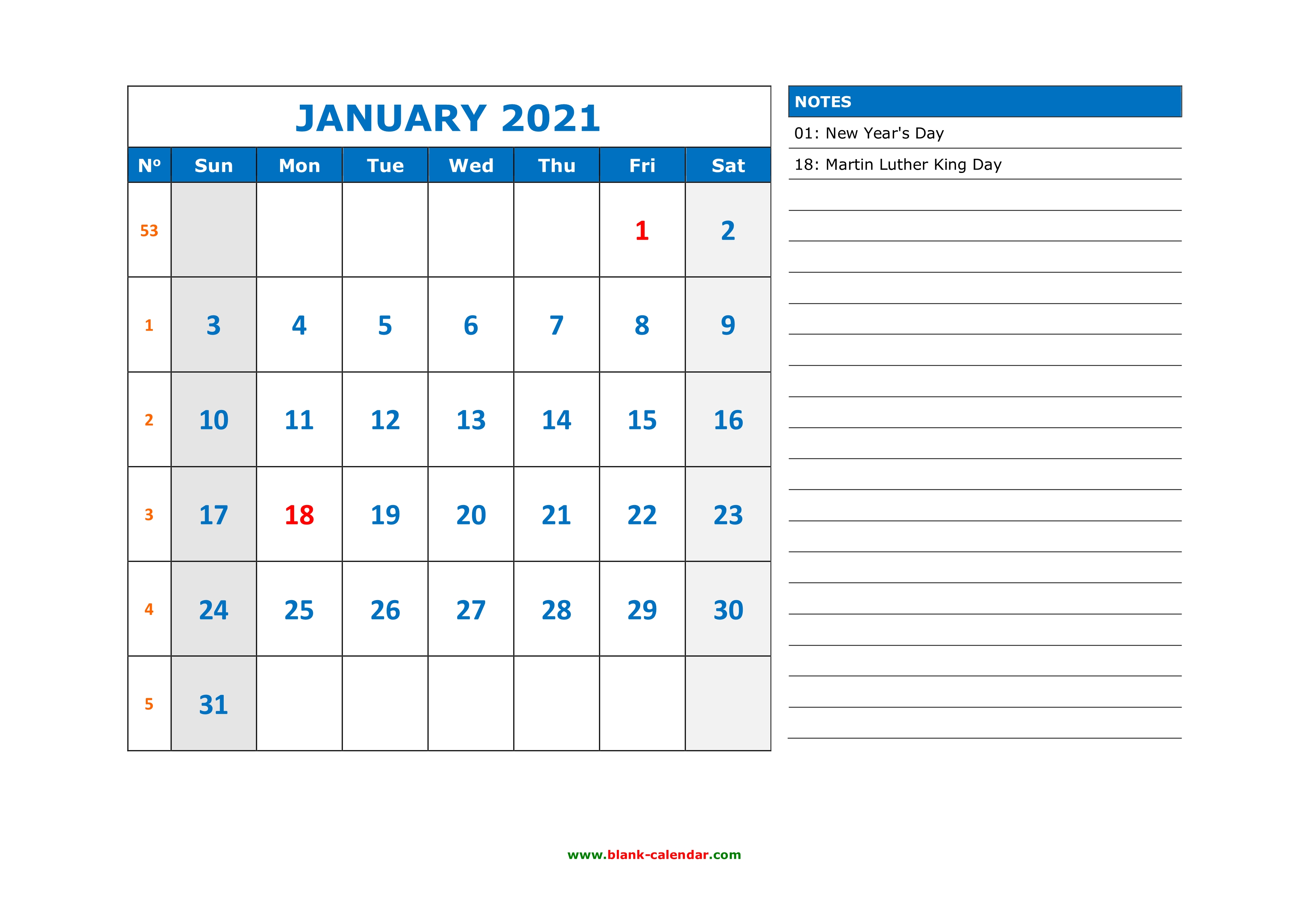 Free Download Printable Calendar 2021, large space for ...
