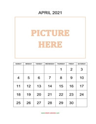 printable april 2021 calendar, pictures can be placed at the top