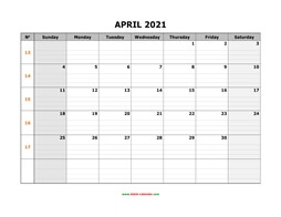 printable april 2021 calendar large box grid, space for notes