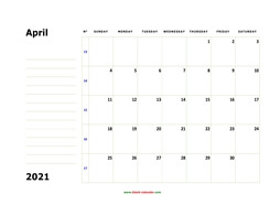 printable april 2021 calendar, large box, space for notes